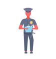 policeman writing report man wearing cop uniform vector image