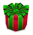Red gift box with green bow vector image