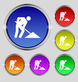 repair of road construction work icon sign Round vector image vector image