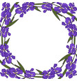 round garland with iris and leaves vector image