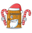 santa with candy vintage wooden door on mascot vector image vector image