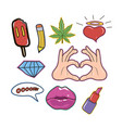 set fashion patch cute sticker and pins vector image