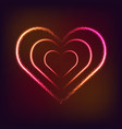 shiny glowing heart shape on dark red background vector image vector image