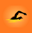 silhouette of a man figure swimming vector image
