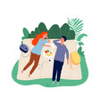 teenagers on picnic two students on nature vector image vector image