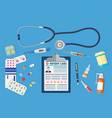 top view of doctor workplace vector image vector image