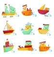 Toy Ships With Faces Colorful Set vector image vector image