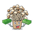 with money bag enoki mushroom mascot cartoon vector image vector image