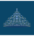 womens tiara crown wedding with blue stones on a b vector image vector image