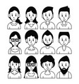 young friends cartoons set vector image vector image
