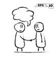stick figure handshake 2 man with speak bubble vector image