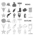 attributes of the wild west monochrom icons in set vector image vector image