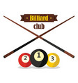 billiard club emblem in flat style vector image