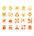 bitcoin finance gold glyph icons set vector image