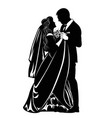 black-and-white contour image of the dancing bride vector image vector image