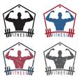 Bodybuilder Fitness Model with barbell labels set vector image vector image