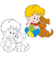 Boy and puppy vector image