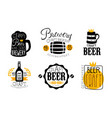 brewery craft beer retro labels set oktoberfest vector image vector image