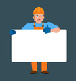 builder holding banner blank worker in protective vector image vector image