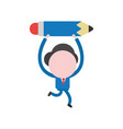 businessman character running and carrying pencil vector image