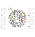 Calendar 2016Doodle hand made sewing vector image