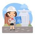cartoon architect with blueprint vector image vector image