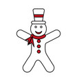 color silhouette image of gingerbread man with vector image vector image
