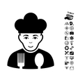 Cook Icon With Copter Tools Bonus vector image