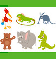 cute cartoon animal characters set vector image vector image