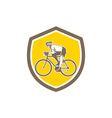 Cyclist Riding Mountain Shield Retro vector image vector image