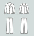 family pajamas suit shirt with pocket and pants vector image