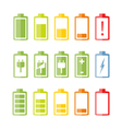 Flat Battery Icons Set vector image vector image