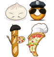 Food Set Chinese Bun French Bread Pizza Chef vector image