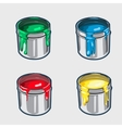 Four icons cans of interior paint vector image