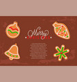gingerbread cookies and merry christmas holiday vector image vector image