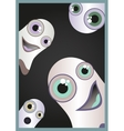 Halloween card with funny and scared ghost vector image vector image