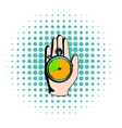 Hand holding a stopwatch icon comics style