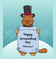 happy groundhog day greeting card or a vertical vector image vector image