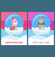 happy new year pig wearing knitted sweater print vector image vector image