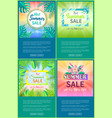 hot summer sale web posters set up 70 off banner vector image vector image