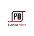 initial letter pd logo template design vector image