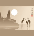 landscape with three herons in the lake at sunset vector image vector image