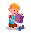 little boy opening gift christmas box vector image