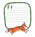 Little funny jumping fox for ABC Alphabet F vector image