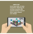 Mobile navigation GPS with map pointers vector image