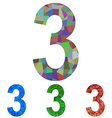 Mosaic number design - number 3 vector image vector image
