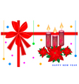New Year Card with Poinsettia Flower and Candles vector image vector image