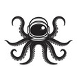 octopus in spaceman helmet design element for vector image