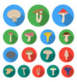 poisonous and edible mushroom flat icons in set vector image vector image