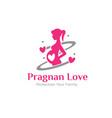 pregnant care logo protection mom and bato vector image
